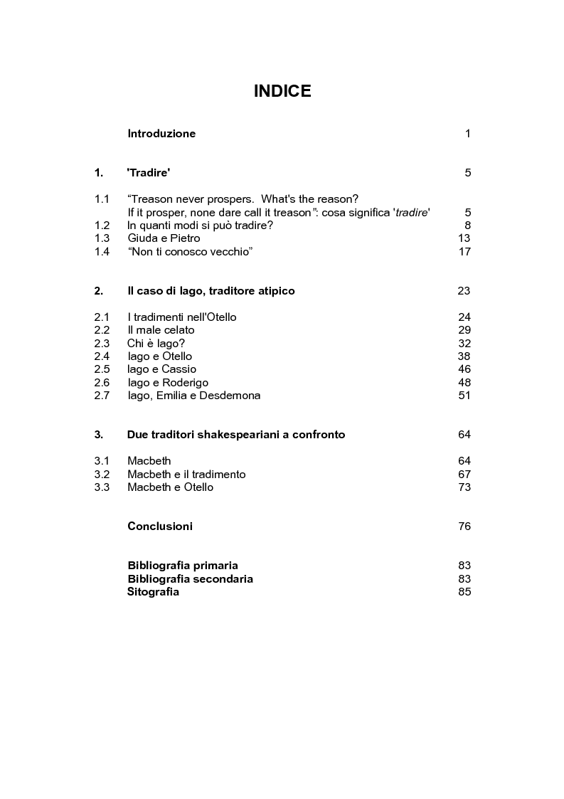 Indice della tesi: Shakespeare e il tradimento: il caso di Iago nell'Otello, Pagina 1