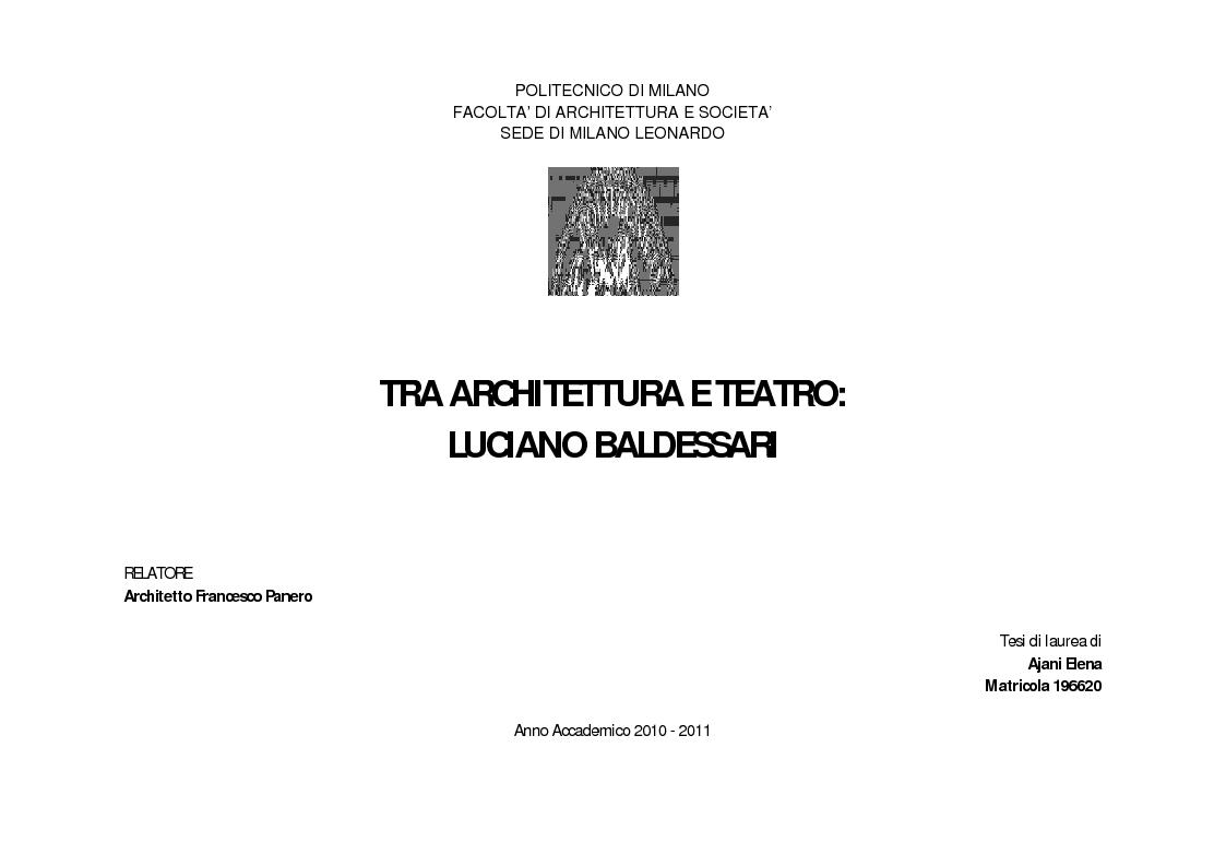 Anteprima tesi tra architettura e teatro luciano for Strumento di progettazione di architettura online