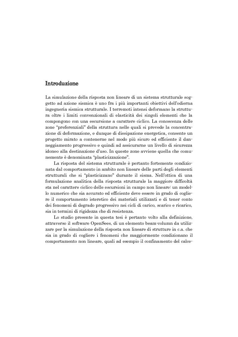 Comportamento non lineare di strutture in cemento armato: analisi numerica con modelli a fibre e prove sperimentali su e...