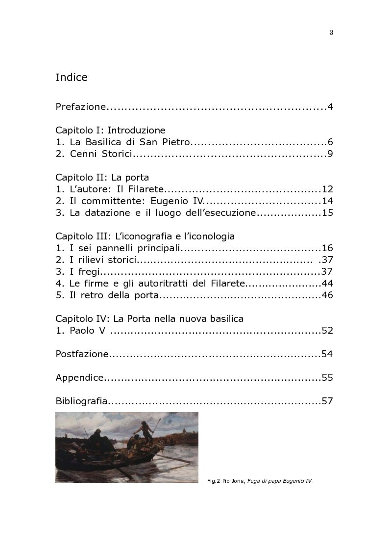 Indice della tesi: Le fonti iconografiche della porta bronzea del Filarete nella Basilica di San Pietro in Vaticano, Pagina 1