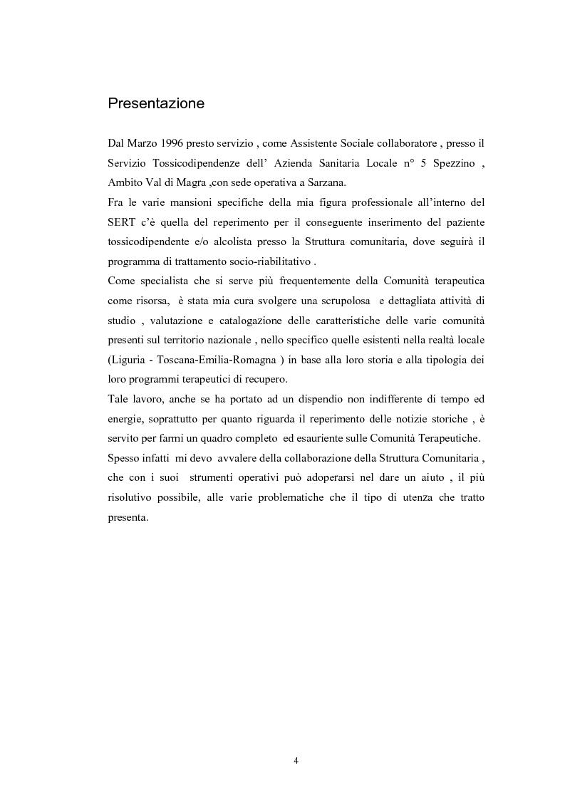 Anteprima della tesi: Comunità terapeutiche: storia e modelli (il ruolo dell'assistente sociale nel percorso terapeutico riabilitativo), Pagina 1