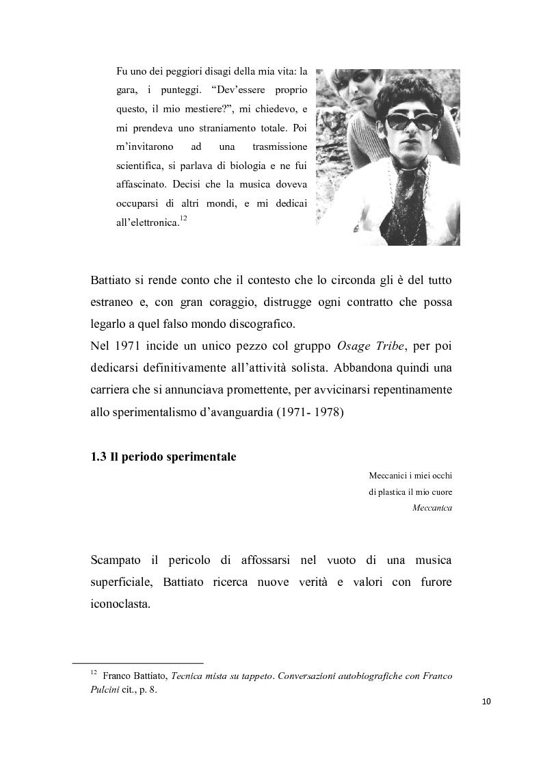 """Anteprima della tesi: """"L'aquila non vola a stormi""""   L'arte di Franco Battiato tra Oriente e  Occidente, Pagina 11"""