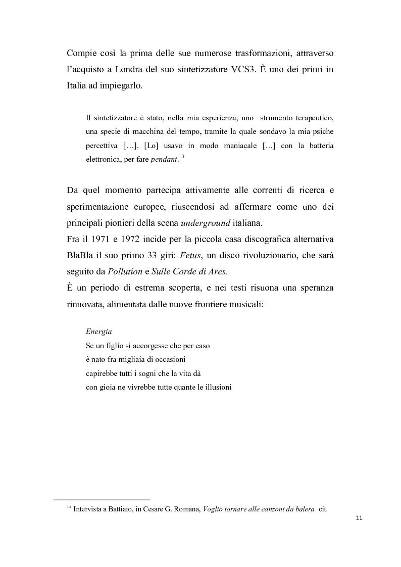 """Anteprima della tesi: """"L'aquila non vola a stormi""""   L'arte di Franco Battiato tra Oriente e  Occidente, Pagina 12"""