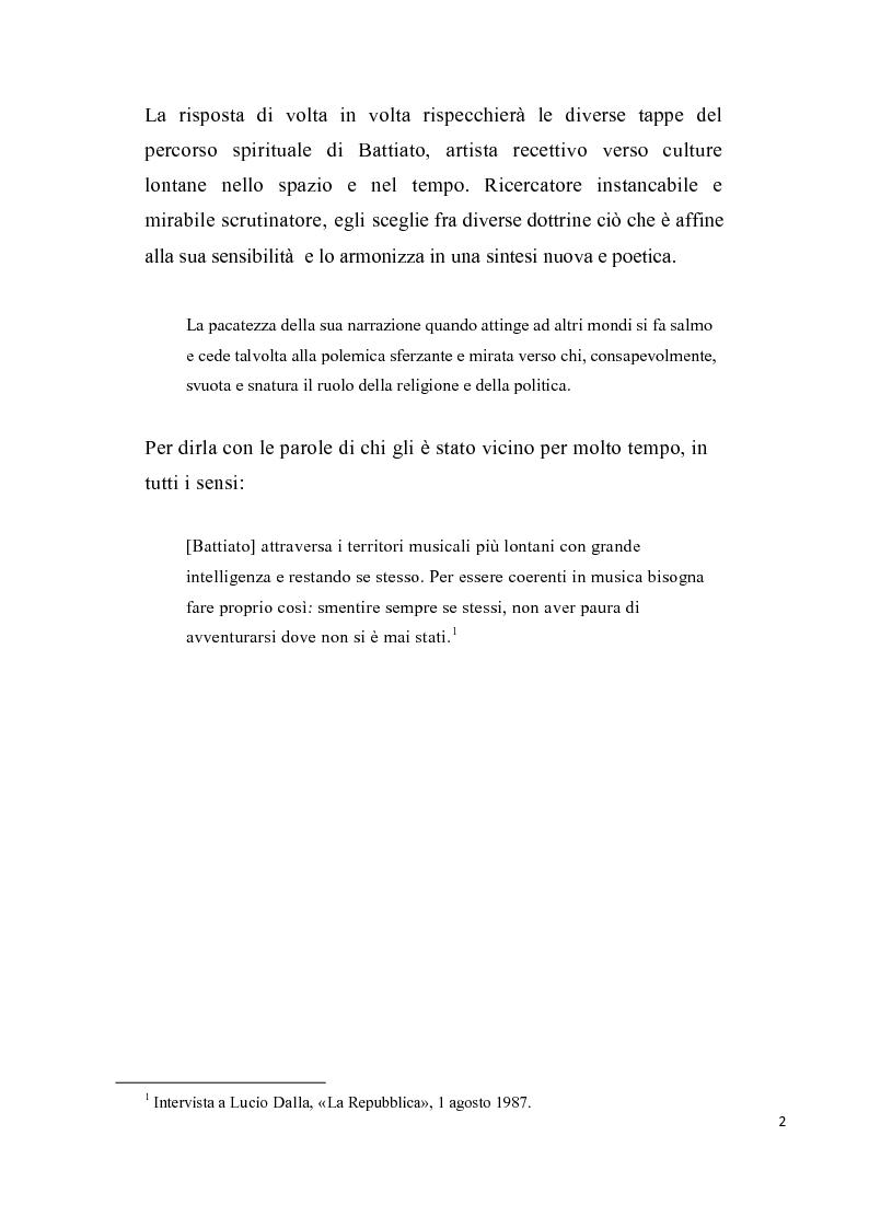 """Anteprima della tesi: """"L'aquila non vola a stormi""""   L'arte di Franco Battiato tra Oriente e  Occidente, Pagina 3"""