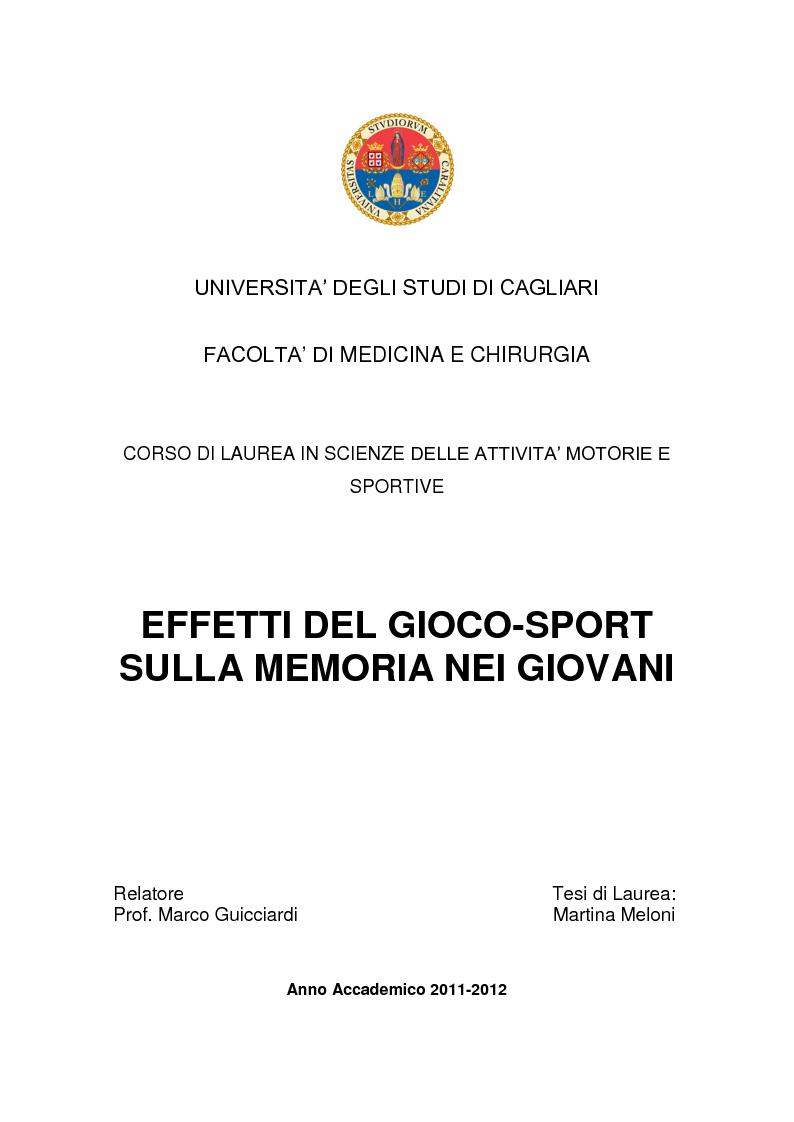 Anteprima della tesi: Effetti del gioco-sport sulla memoria nei giovani, Pagina 1