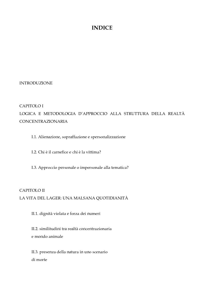 Indice della tesi: La realtà concentrazionaria nella narrativa di Tadeusz Borowski, Pagina 1