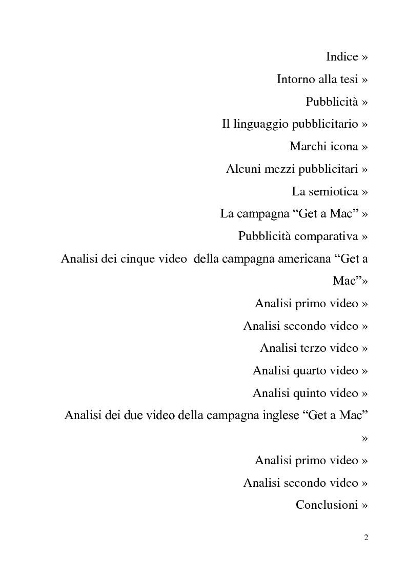 Indice della tesi: Analisi semiotica di sette Tv Ads della campagna di pubblicità comparativa 'Get A Mac', Pagina 1