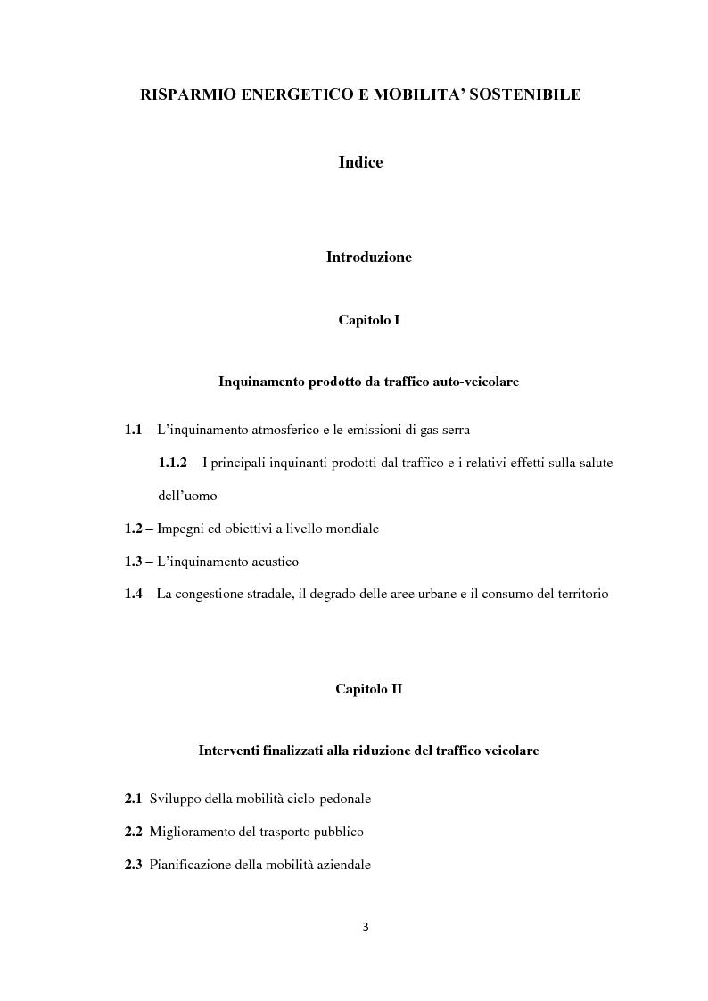 Indice della tesi: Risparmio energetico e mobilità sostenibile, Pagina 1