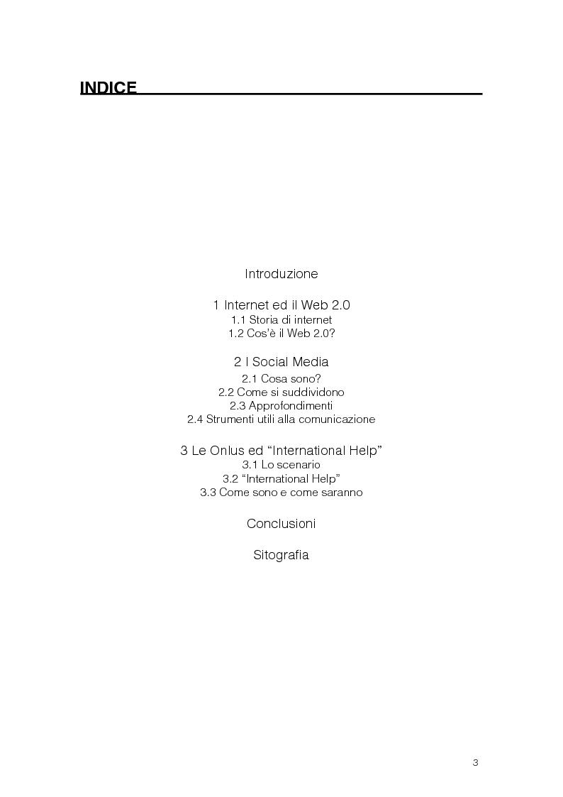 Indice della tesi: Soliderietà 2.0 le Onlus e i Social Media, Pagina 1
