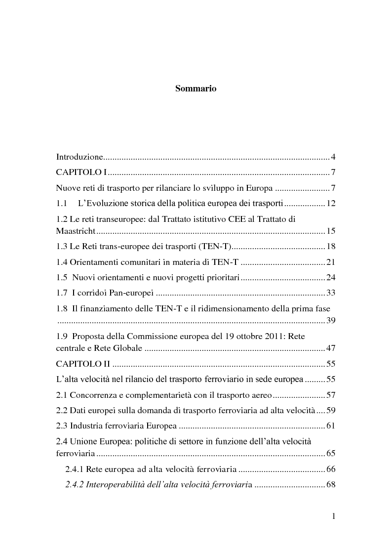Indice della tesi: L'alta velocità ferroviaria nei Corridoi europei di trasporto, Pagina 1