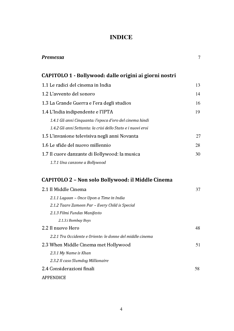 Indice della tesi: Oltre i Confini di Bollywood: middle cinema, diaspora e i rapporti con l'Italia, Pagina 1