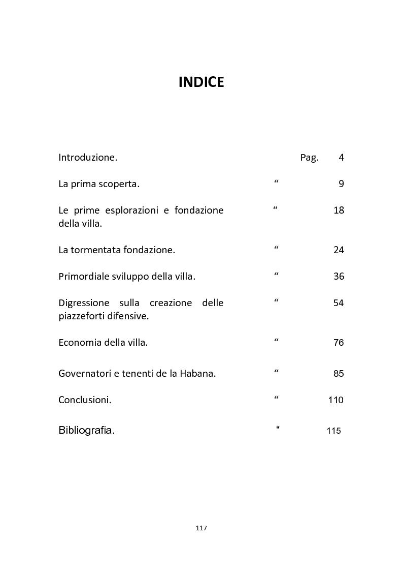 Indice della tesi: La storia del primo secolo della città de La Habana, Pagina 1