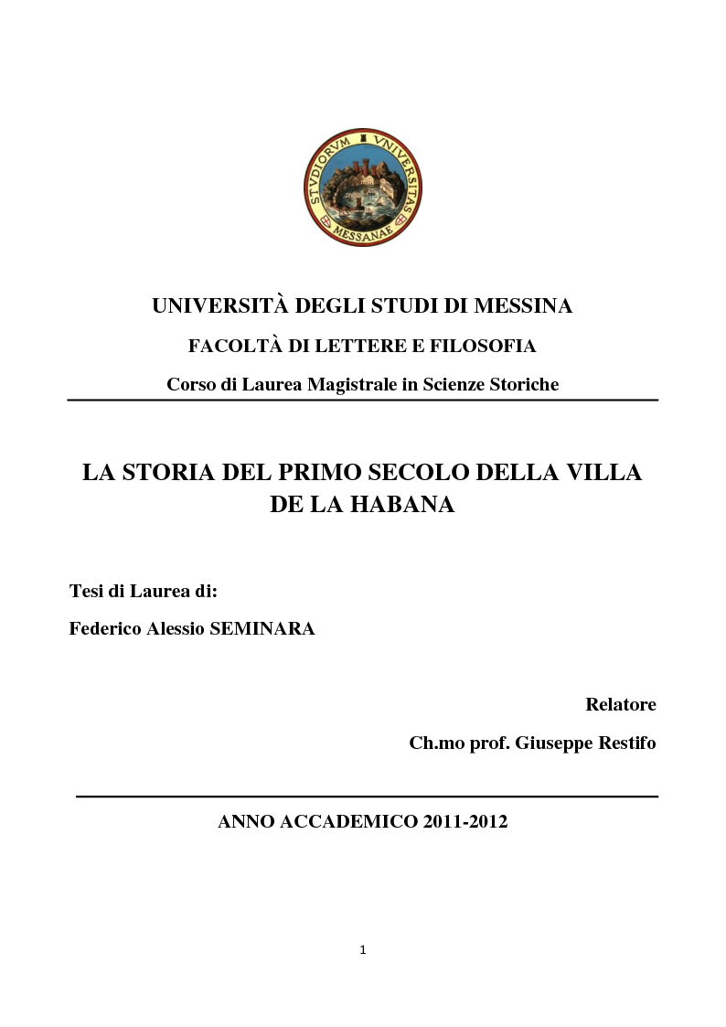 Anteprima della tesi: La storia del primo secolo della città de La Habana, Pagina 1