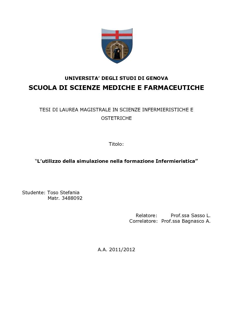 Universita degli studi di genova scuola di scienze for Simulazione test laurea magistrale infermieristica