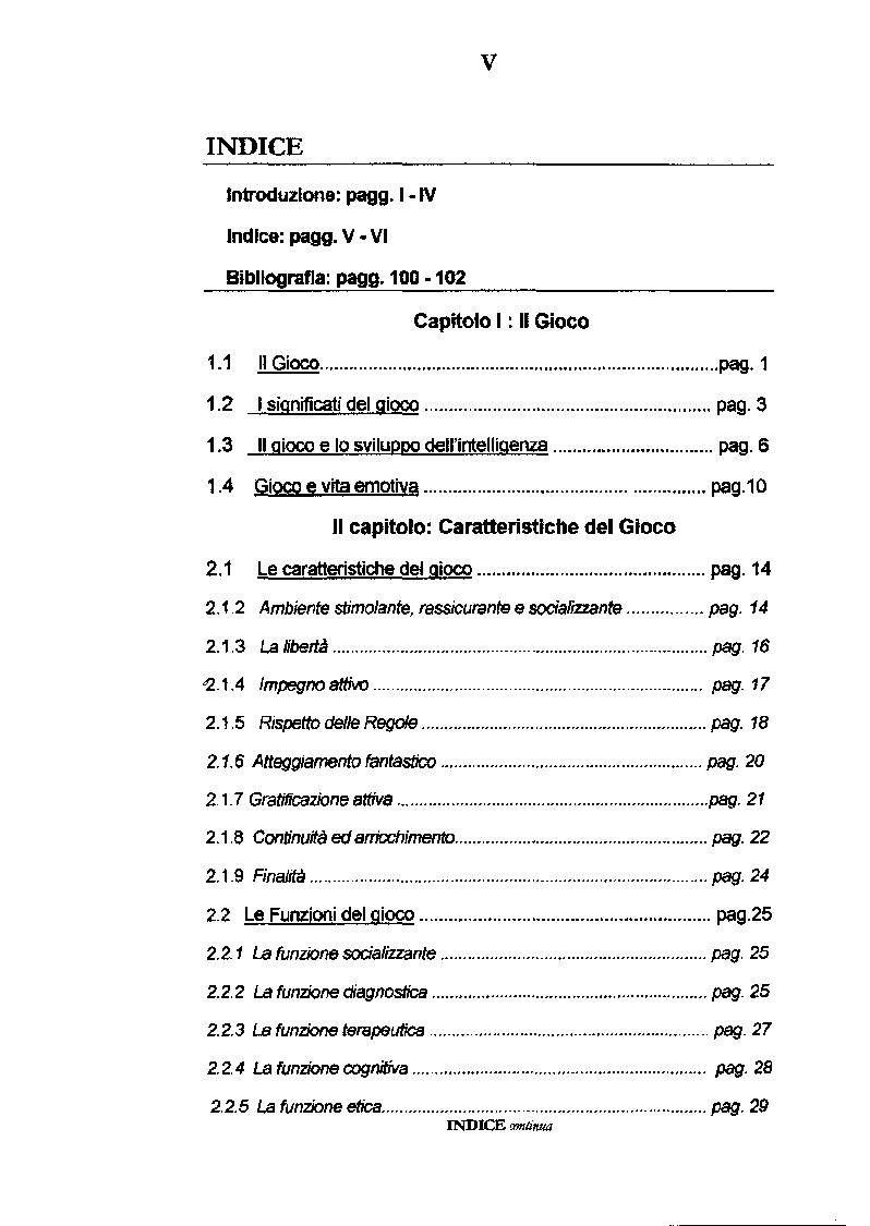 Indice della tesi: Empatia e Gioco, Pagina 1