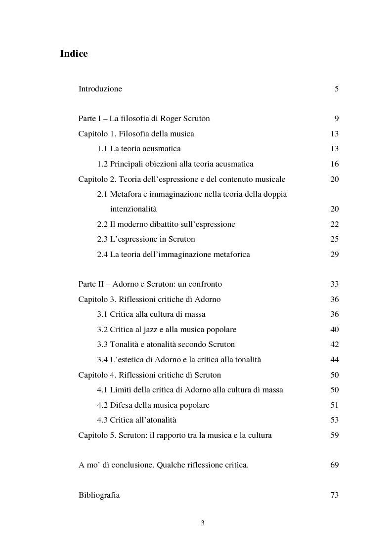 Indice della tesi: Adorno e Scruton. Un confronto critico sul significato dell'esperienza musicale., Pagina 1