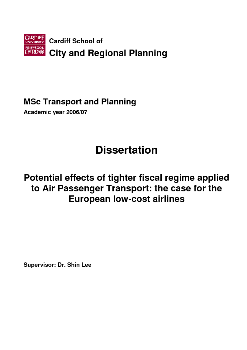 Anteprima della tesi: Potential effects of tighter fiscal regime applied to Air Passenger Transport: the case for the European low-cost airlines, Pagina 1