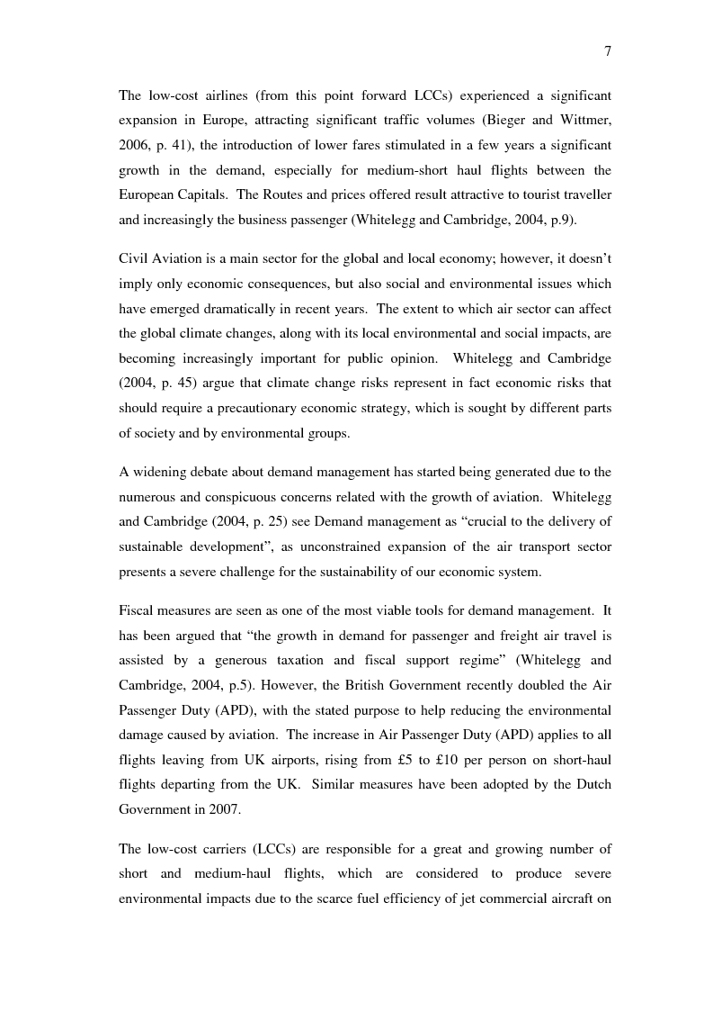 Anteprima della tesi: Potential effects of tighter fiscal regime applied to Air Passenger Transport: the case for the European low-cost airlines, Pagina 3