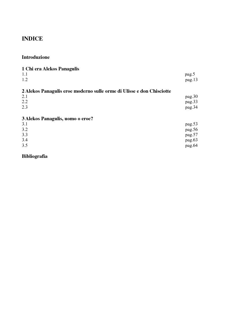 Indice della tesi: La figura dell'eroe in ''Un uomo'' di Oriana Fallaci, Pagina 1