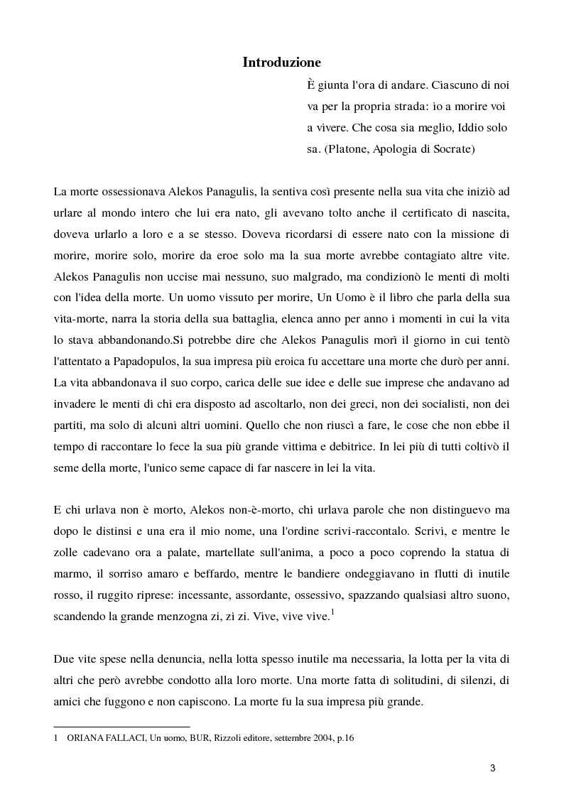 Anteprima della tesi: La figura dell'eroe in ''Un uomo'' di Oriana Fallaci, Pagina 2
