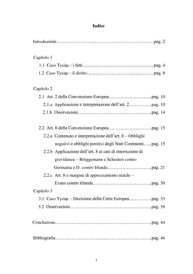 Indice della tesi: Aborto terapeutico e tutela della vita privata di fronte alla Corte Europea dei Diritti dell'Uomo, Pagina 1