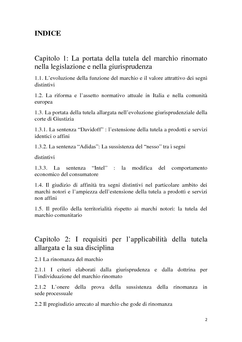 Indice della tesi: I marchi che godono di rinomanza, Pagina 1