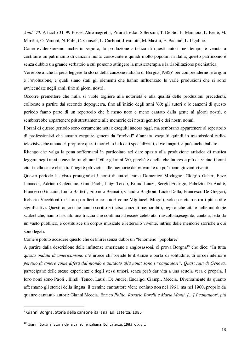Estratto dalla tesi: La follia nella canzone popolare italiana: la musica popolare italiana come strumento di riabilitazione psichiatrica in una esperienza di tirocinio nel Centro Semiresidenziale Vincenzo Chiarugi