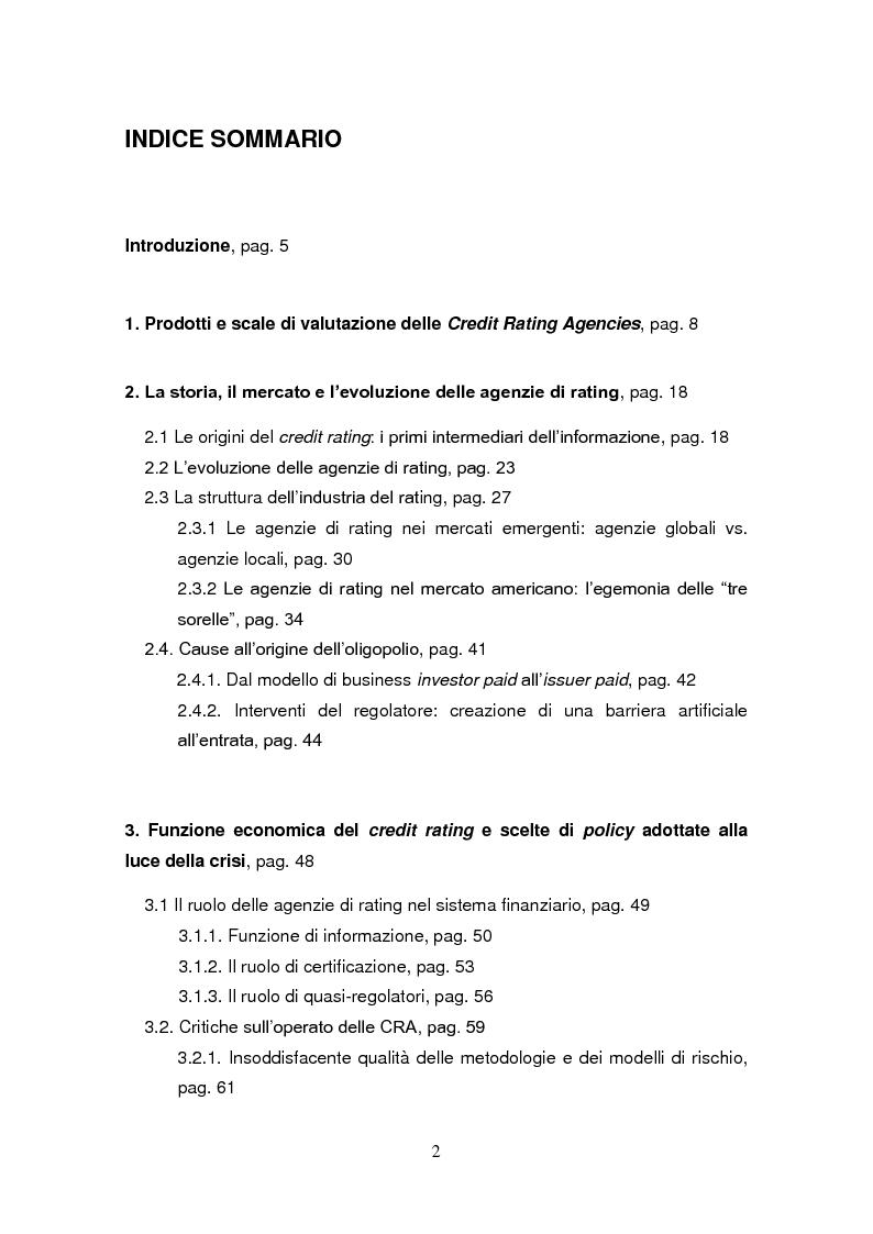 Indice della tesi: Agenzie di rating: considerazioni sull'industria del credit rating e valutazioni sulla sua bontà, Pagina 1