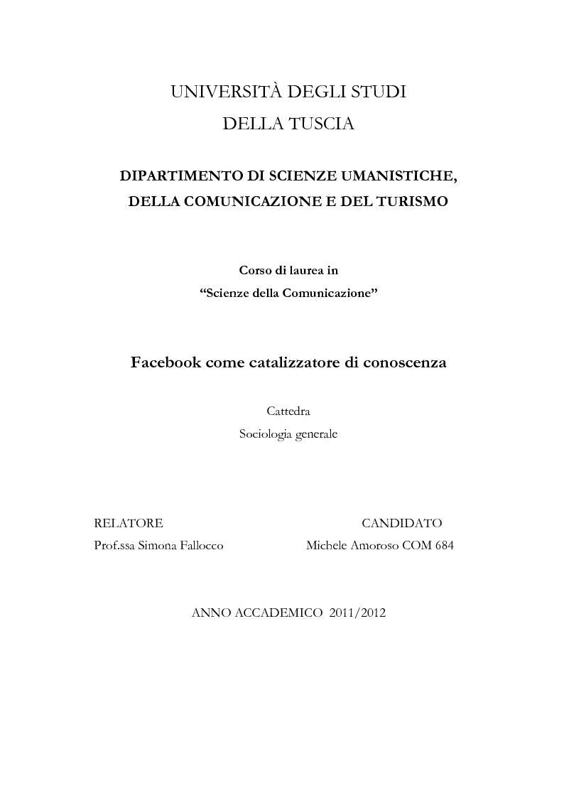 Anteprima della tesi: Facebook come catalizzatore di conoscenza, Pagina 1