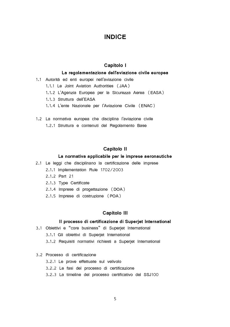 Indice della tesi: Certificazione delle imprese di progettazione e costruzione aeronautica, Pagina 1