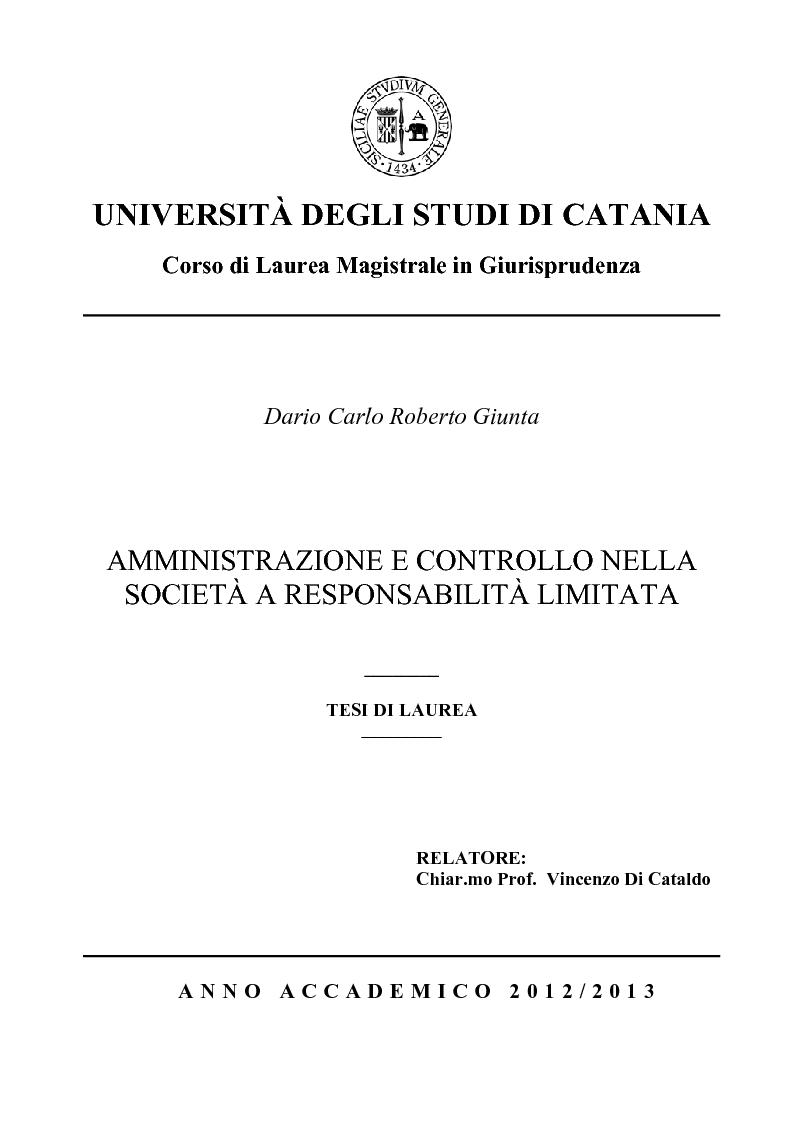 Anteprima della tesi: Amministrazione e controllo nella Società a Responsabilità Limitata, Pagina 1