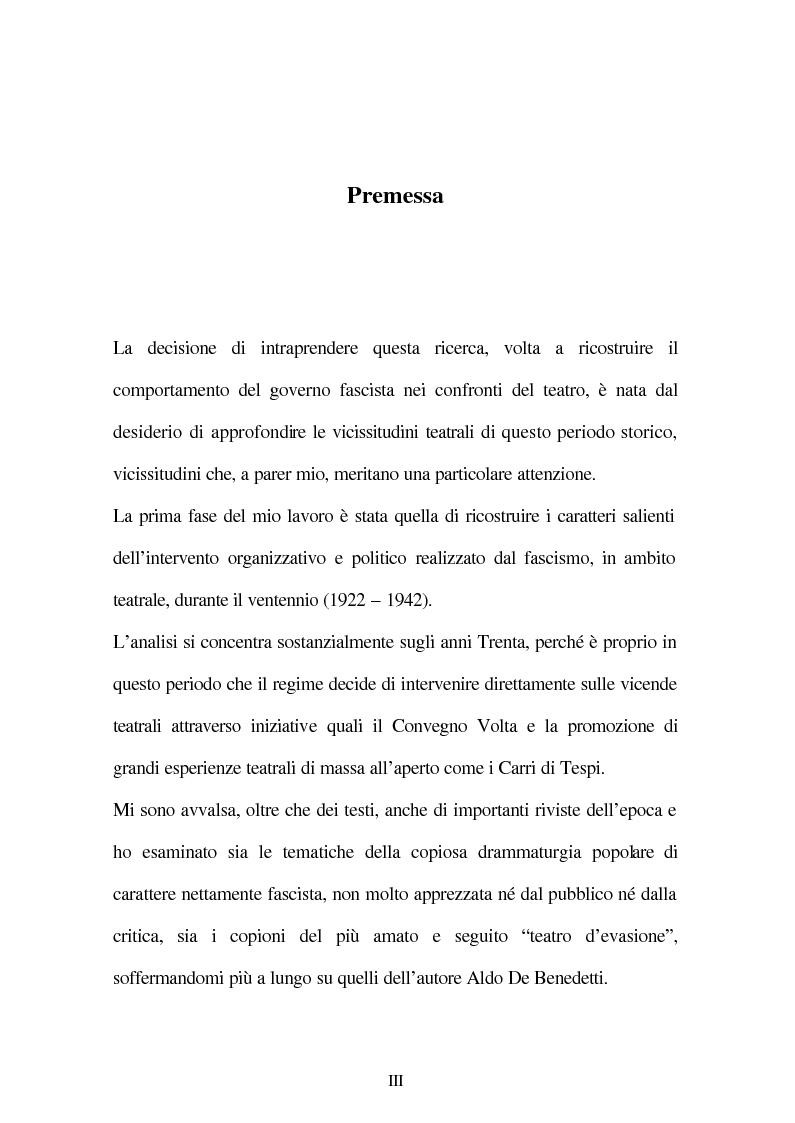 Anteprima della tesi: Il fascismo e il teatro, Pagina 1