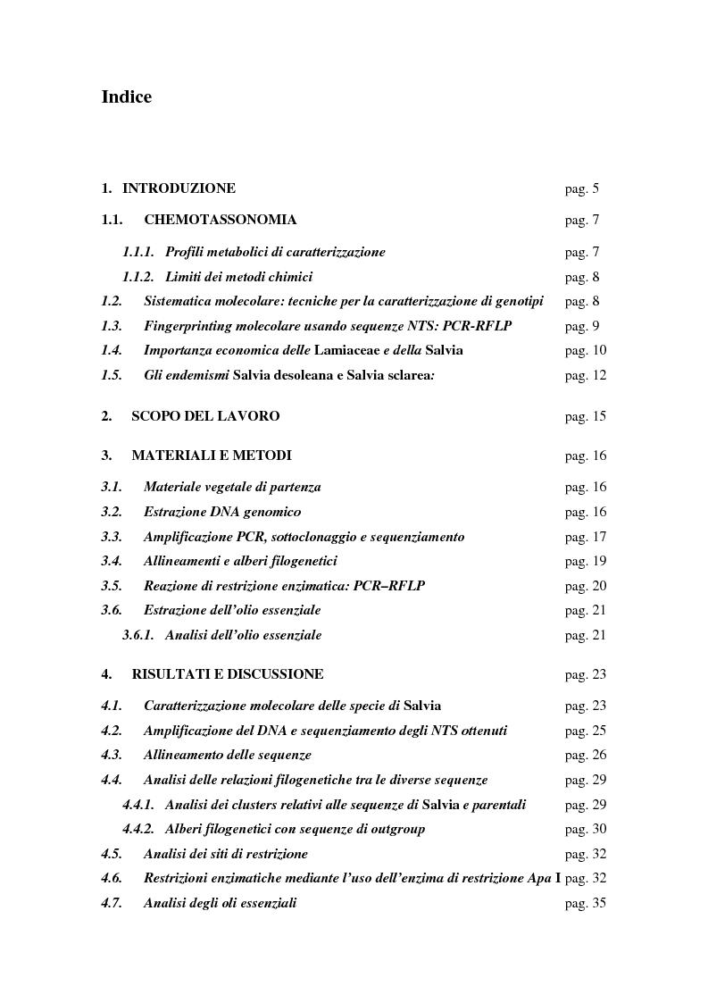Indice della tesi: Discriminazione chimica e molecolare di due specie endemiche della Sardegna: Salvia desoleana Atzei et Picci e Salvia sclarea L., Pagina 1