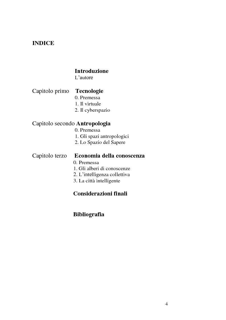 Indice della tesi: Il problema dell'intelligenza collettiva in Pierre Lévy. Una prospettiva di comunicazione pubblica., Pagina 1