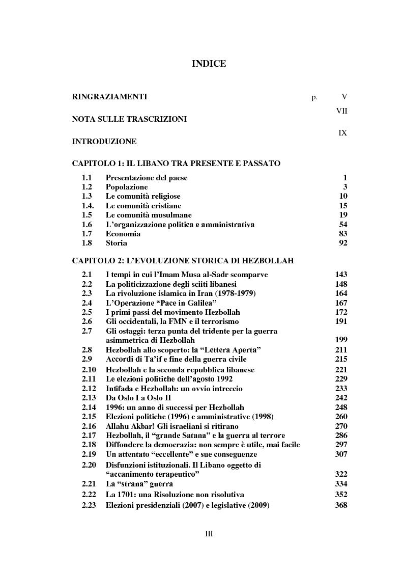 Indice della tesi: Hezbollah: storia, ideologia e logica d'azione di un movimento islamista sciita, Pagina 1