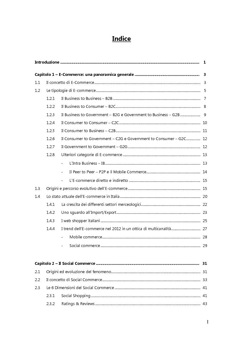 Indice della tesi: Social Commerce: Il caso Blomming.com, Pagina 1