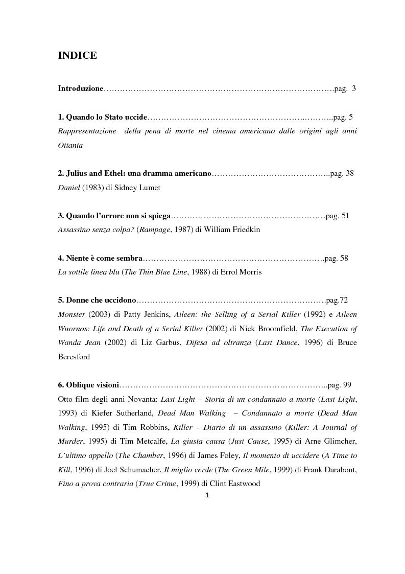 Indice della tesi: Visioni di morte. La pena capitale nel cinema americano contemporaneo, Pagina 1