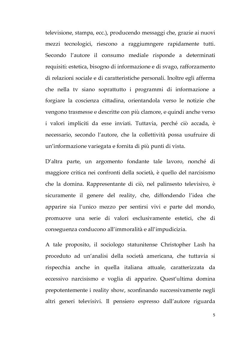 Anteprima della tesi: Neotelevisione e reality show: commistione tra i generi televisivi, Pagina 3