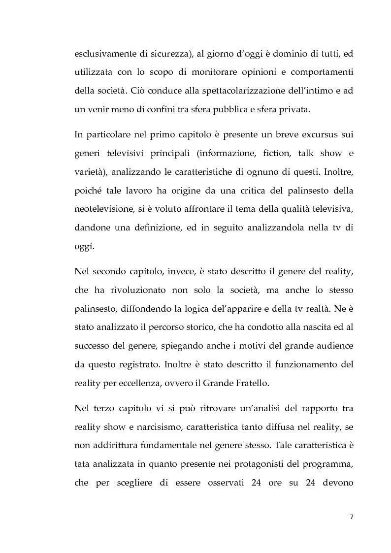 Anteprima della tesi: Neotelevisione e reality show: commistione tra i generi televisivi, Pagina 5