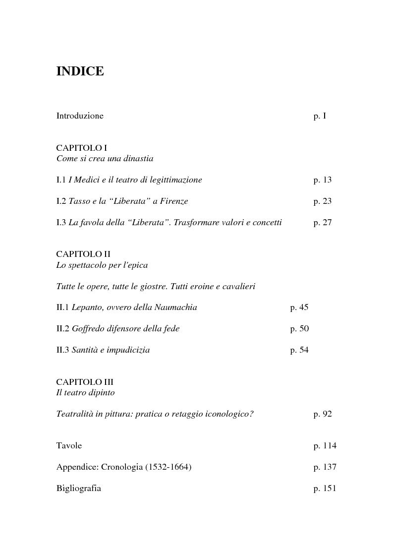 Indice della tesi: Al servizio del Granduca: l'epica e lo spettacolo delle armi, Pagina 1