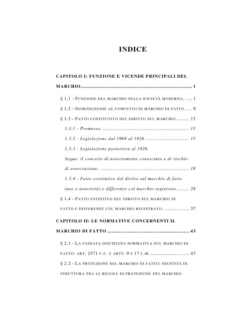 Indice della tesi: La Protezione del Marchio non registrato, Pagina 1