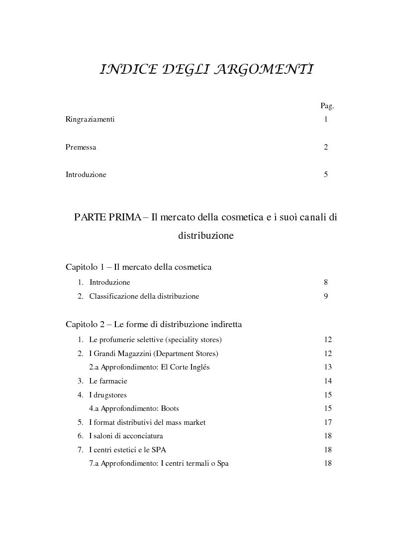 Indice della tesi: I canali della distribuzione del mercato cosmetico mondiale e tendenze evolutive. Le strategie della profumeria nel mercato italiano., Pagina 1