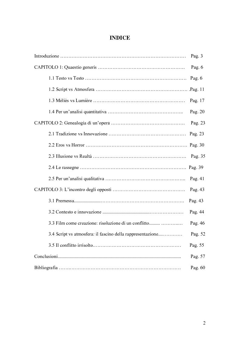 """Indice della tesi: L'incontro degli opposti: la ricezione critica de """"La Machera del Demonio"""" di Mario Bava, Pagina 1"""