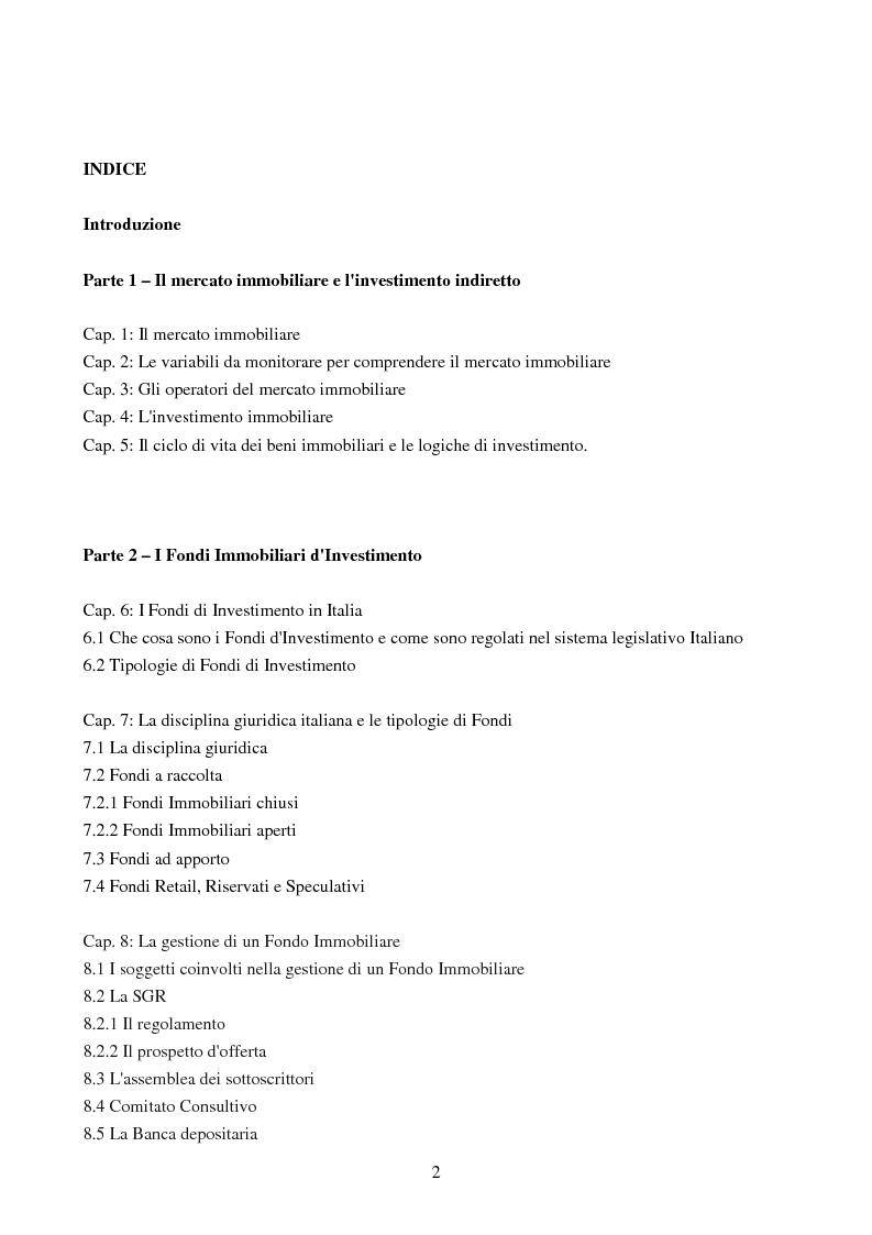 Indice della tesi: I Fondi d'Investimento Immobiliari chiusi: il caso Aberdeen Asset Management, Pagina 1