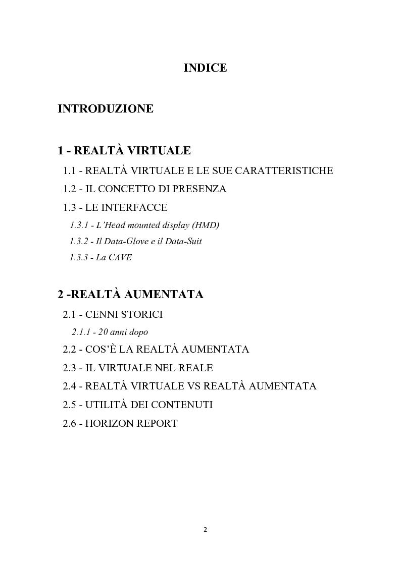 Indice della tesi: Realtà virtuale e realtà aumentata per i beni culturali, Pagina 1