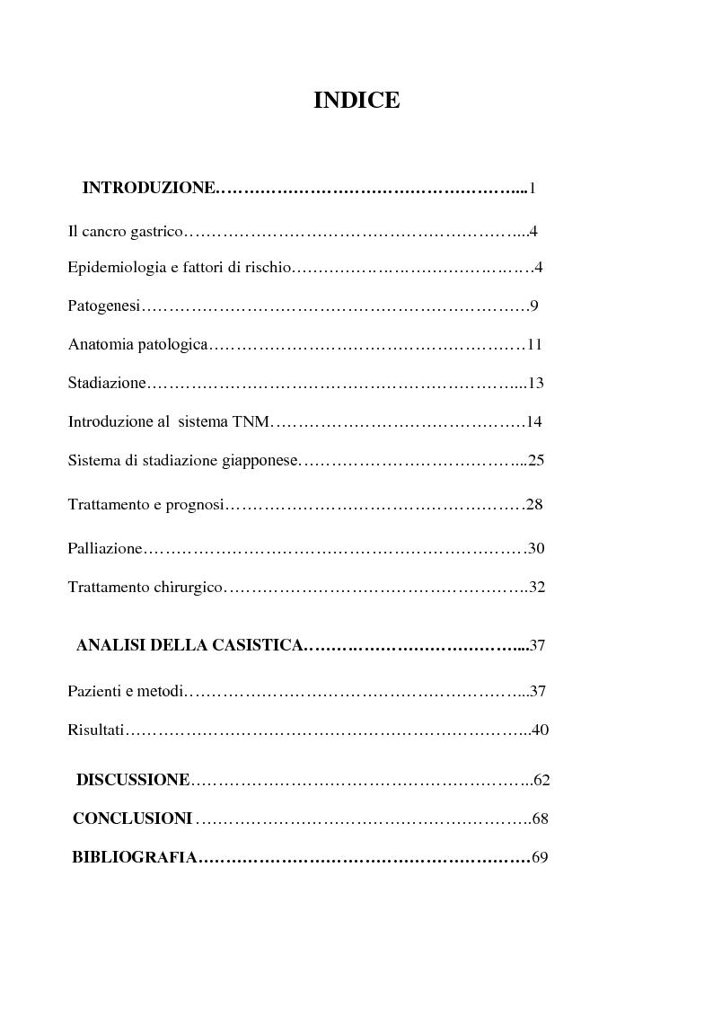 Indice della tesi: Valutazione del ratio linfonodale nella prognosi dei pazienti operati per cancro gastrico, Pagina 1