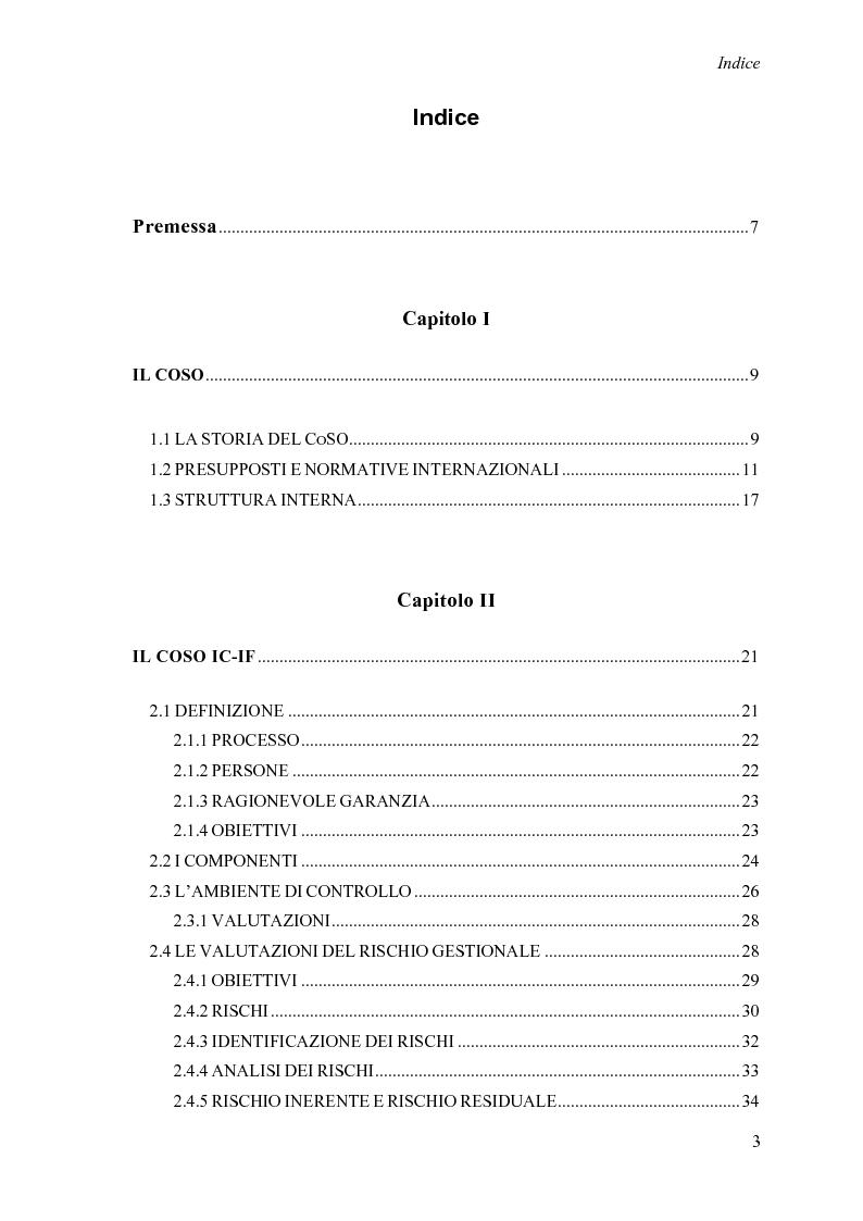 Indice della tesi: L'evoluzione del framework CoSO a supporto del sistema di controllo interno, Pagina 1