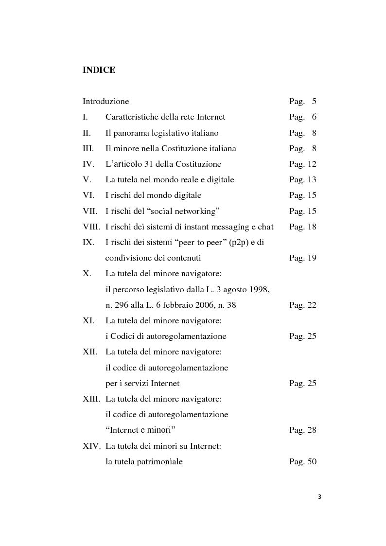 Indice della tesi: La tutela dei minori su Internet ai sensi dell'art. 31 co. 2 cost., Pagina 1