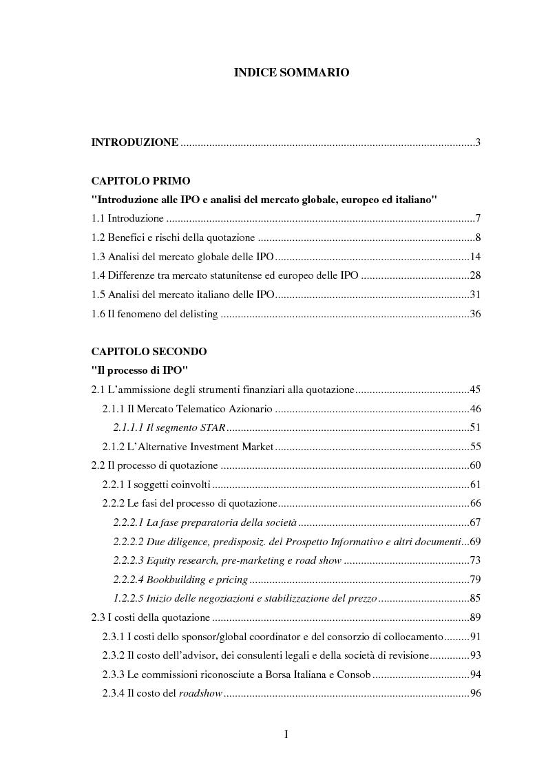 Indice della tesi: Il fenomeno dell'underpricing nelle offerte pubbliche iniziali per il periodo 2003-2012: un'analisi empirica sul mercato azionario italiano, Pagina 1