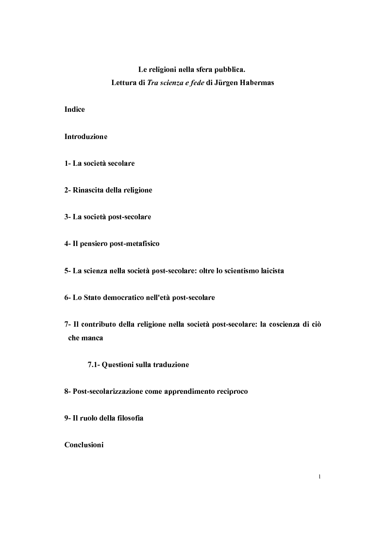 """Indice della tesi: Le religioni nella sfera pubblica. Lettura di """"Tra scienza e fede"""" di Jürgen Habermas, Pagina 1"""